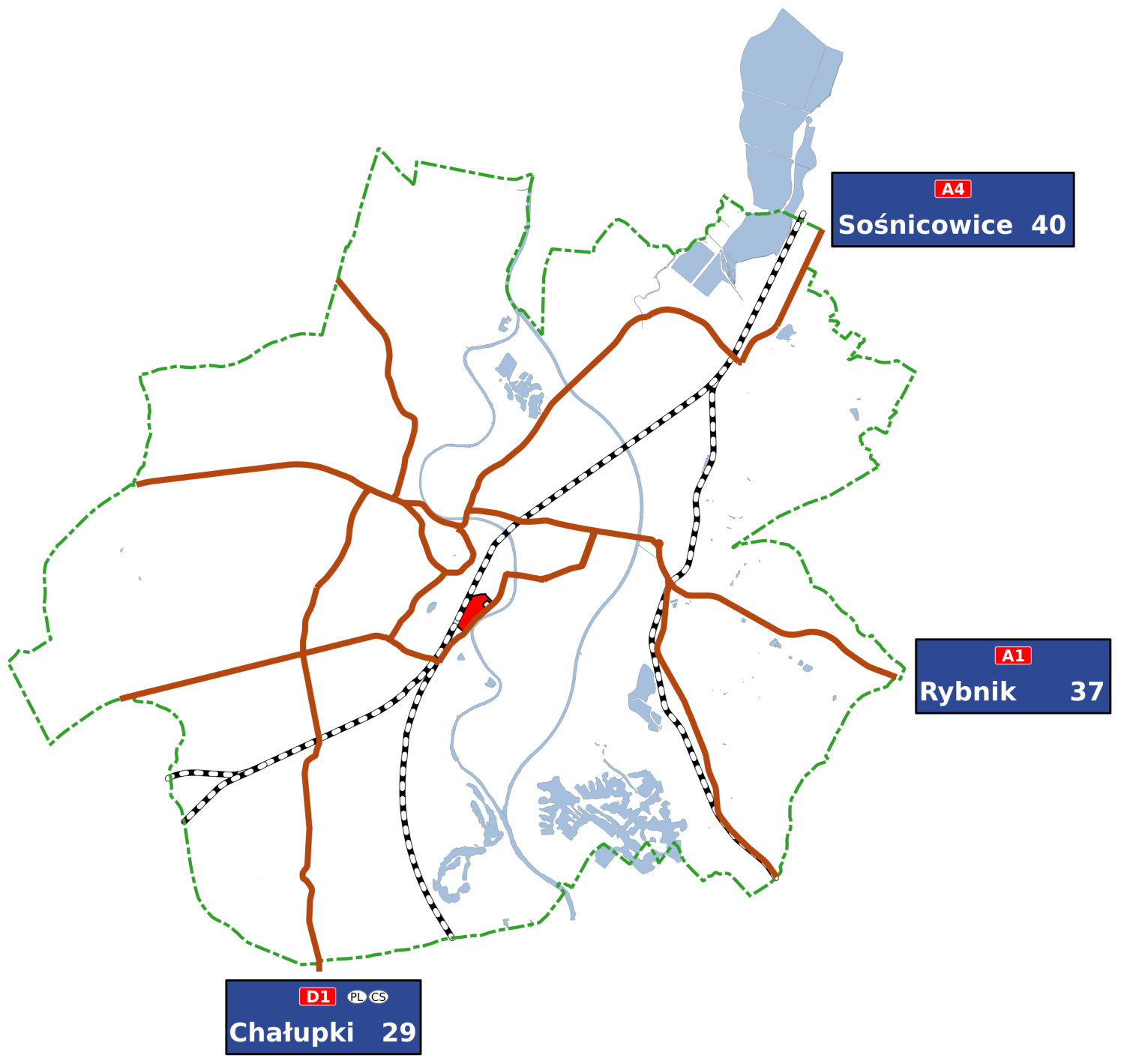 Map of road connections