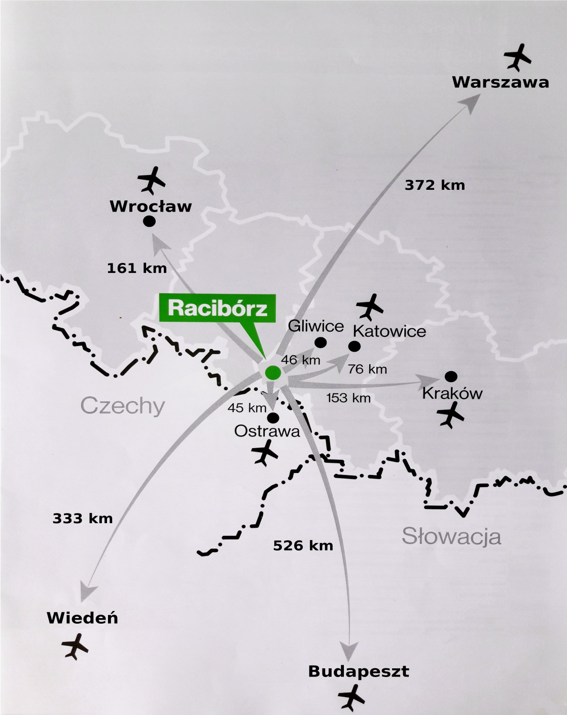 Map of transport connections from Katowice - Pyrzowice airport
